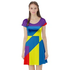 Colorful Red Yellow Blue Purple Short Sleeve Skater Dress by Pakrebo