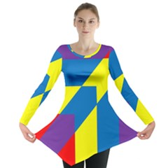 Colorful Red Yellow Blue Purple Long Sleeve Tunic