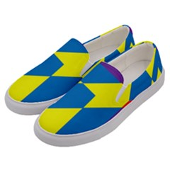 Colorful Red Yellow Blue Purple Men s Canvas Slip Ons by Pakrebo