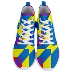 Colorful Red Yellow Blue Purple Men s Lightweight High Top Sneakers