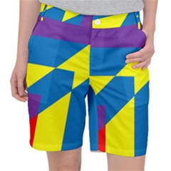 Colorful Red Yellow Blue Purple Pocket Shorts by Pakrebo