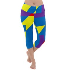 Colorful Red Yellow Blue Purple Lightweight Velour Capri Yoga Leggings by Pakrebo