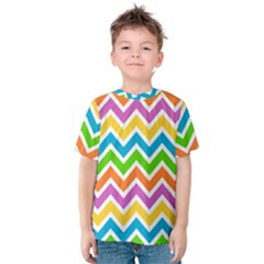 Chevron Pattern Design Texture Kids  Cotton Tee by Pakrebo