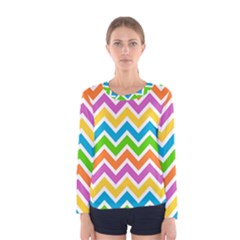 Chevron Pattern Design Texture Women s Long Sleeve Tee by Pakrebo