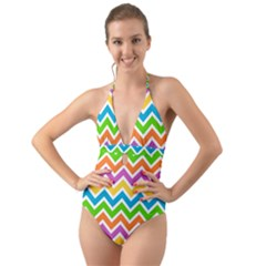 Chevron Pattern Design Texture Halter Cut Out One Piece Swimsuit by Pakrebo
