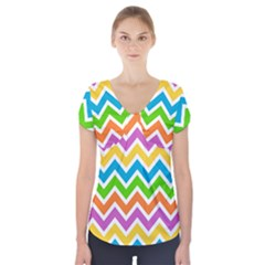 Chevron Pattern Design Texture Short Sleeve Front Detail Top by Pakrebo