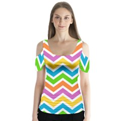 Chevron Pattern Design Texture Butterfly Sleeve Cutout Tee  by Pakrebo