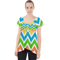 Chevron Pattern Design Texture Lace Front Dolly Top by Pakrebo