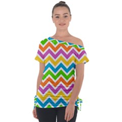 Chevron Pattern Design Texture Tie Up Tee by Pakrebo