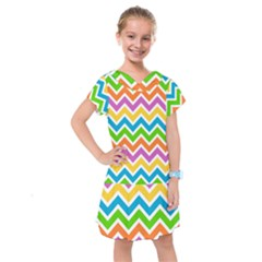 Chevron Pattern Design Texture Kids  Drop Waist Dress by Pakrebo