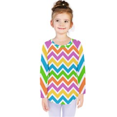 Chevron Pattern Design Texture Kids  Long Sleeve Tee by Pakrebo
