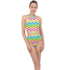 Chevron Pattern Design Texture Halter Side Cut Swimsuit by Pakrebo