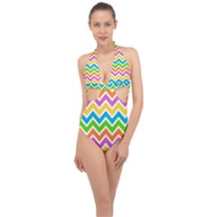 Chevron Pattern Design Texture Halter Front Plunge Swimsuit by Pakrebo