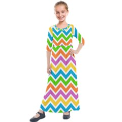 Chevron Pattern Design Texture Kids  Quarter Sleeve Maxi Dress by Pakrebo