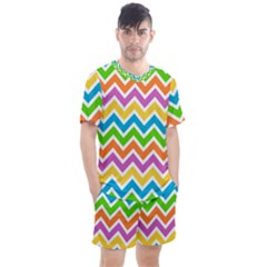 Chevron Pattern Design Texture Men s Mesh Tee And Shorts Set by Pakrebo