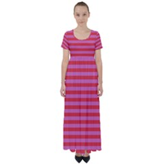 Stripes Striped Design Pattern High Waist Short Sleeve Maxi Dress by Pakrebo