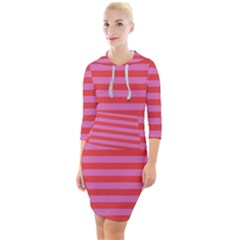 Stripes Striped Design Pattern Quarter Sleeve Hood Bodycon Dress