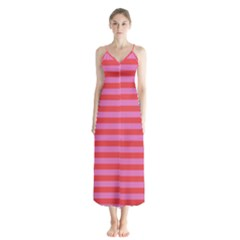 Stripes Striped Design Pattern Button Up Chiffon Maxi Dress by Pakrebo