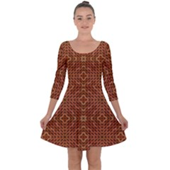 Mosaic Triangle Symmetry Quarter Sleeve Skater Dress