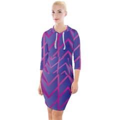 Geometric Background Abstract Quarter Sleeve Hood Bodycon Dress