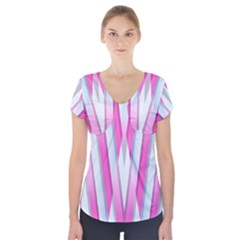 Geometric 3d Design Pattern Pink Short Sleeve Front Detail Top
