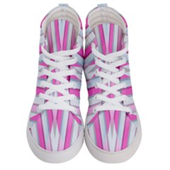 Geometric 3d Design Pattern Pink Women s Hi Top Skate Sneakers