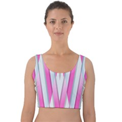 Geometric 3d Design Pattern Pink Velvet Crop Top
