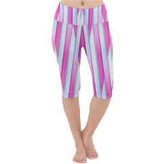 Geometric 3d Design Pattern Pink Lightweight Velour Cropped Yoga Leggings by Pakrebo