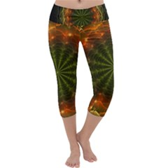 Fractal Digital Capri Yoga Leggings