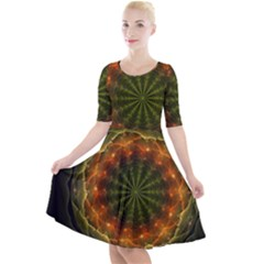 Fractal Digital Quarter Sleeve A Line Dress