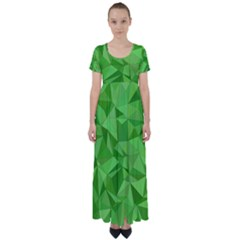 Mosaic Tile Geometrical Abstract High Waist Short Sleeve Maxi Dress by Pakrebo