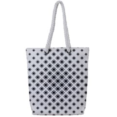 Stylized Flower Floral Pattern Full Print Rope Handle Tote (small)