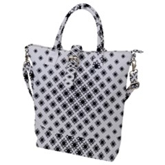 Stylized Flower Floral Pattern Buckle Top Tote Bag