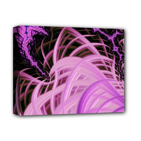 Purple Fractal Artwork Feather Deluxe Canvas 14  X 11  (stretched)