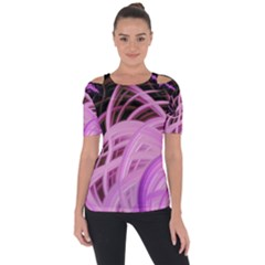 Purple Fractal Artwork Feather Shoulder Cut Out Short Sleeve Top by Pakrebo