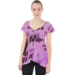 Purple Fractal Artwork Feather Lace Front Dolly Top