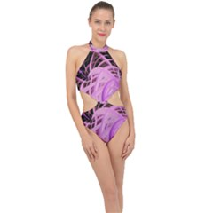 Purple Fractal Artwork Feather Halter Side Cut Swimsuit