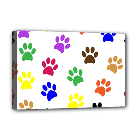 Pawprints Paw Prints Paw Animal Deluxe Canvas 18  X 12  (stretched) by Pakrebo