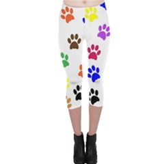 Pawprints Paw Prints Paw Animal Capri Leggings  by Pakrebo