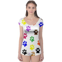 Pawprints Paw Prints Paw Animal Boyleg Leotard  by Pakrebo