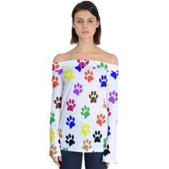 Pawprints Paw Prints Paw Animal Off Shoulder Long Sleeve Top by Pakrebo