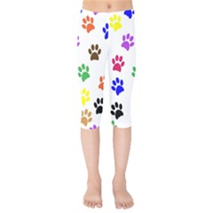 Pawprints Paw Prints Paw Animal Kids  Capri Leggings  by Pakrebo