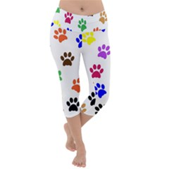 Pawprints Paw Prints Paw Animal Lightweight Velour Capri Yoga Leggings by Pakrebo