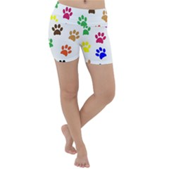 Pawprints Paw Prints Paw Animal Lightweight Velour Yoga Shorts by Pakrebo