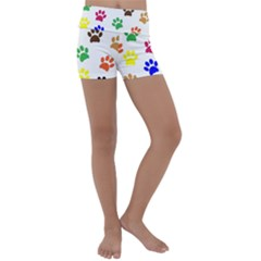 Pawprints Paw Prints Paw Animal Kids  Lightweight Velour Yoga Shorts by Pakrebo