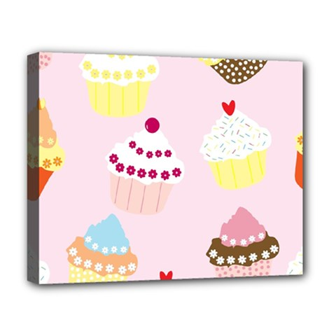 Cupcakes Wallpaper Paper Background Deluxe Canvas 20  X 16  (stretched)