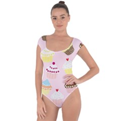 Cupcakes Wallpaper Paper Background Short Sleeve Leotard