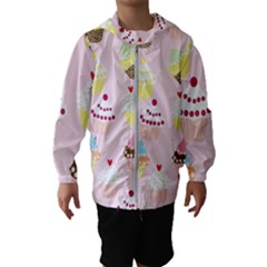 Cupcakes Wallpaper Paper Background Hooded Windbreaker (kids)