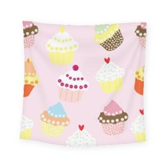 Cupcakes Wallpaper Paper Background Square Tapestry (small) by Pakrebo