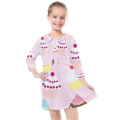 Cupcakes Wallpaper Paper Background Kids  Quarter Sleeve Shirt Dress
